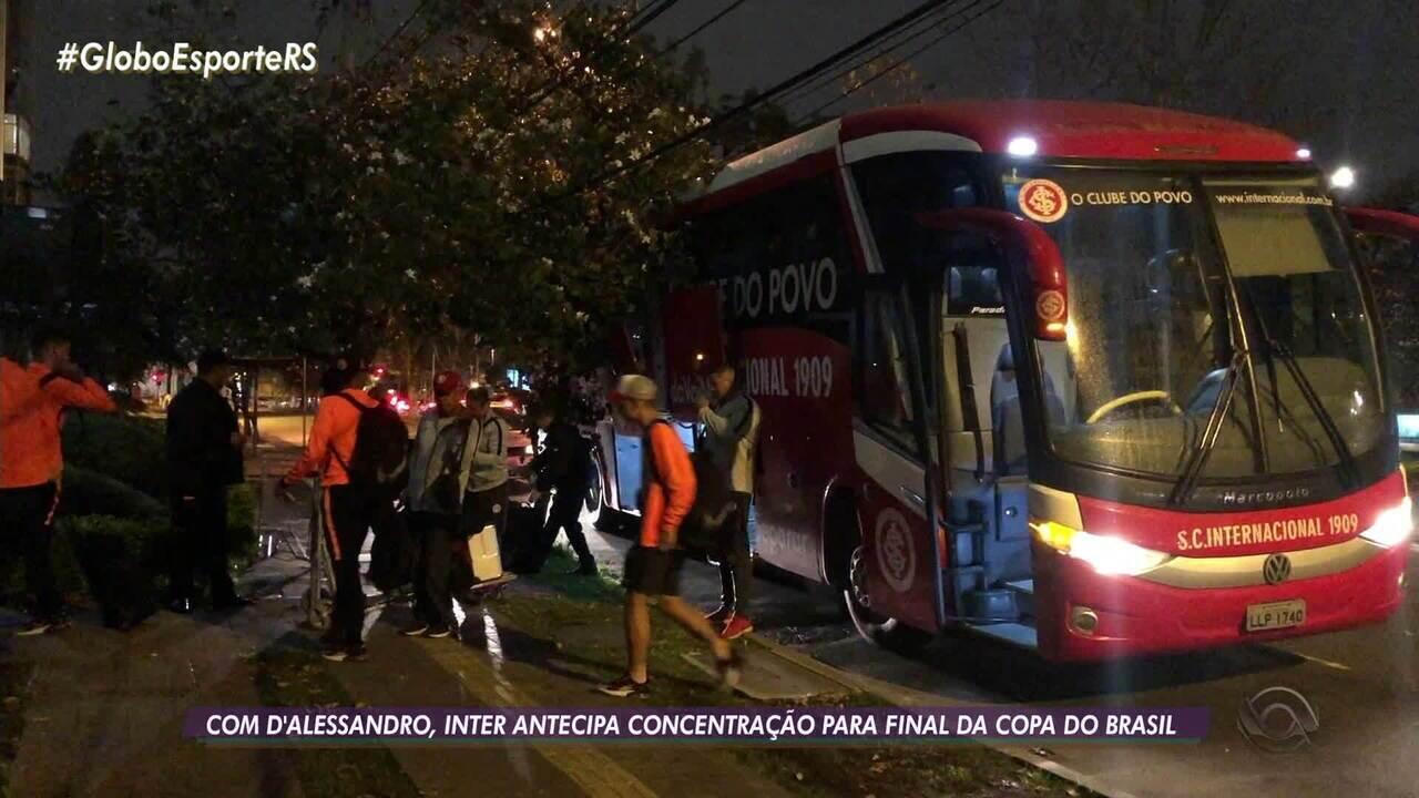 Inter tem último treino antes da final da Copa do Brasil nesta terça-feira