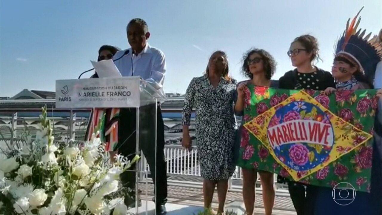 Jardim em homenagem à Marielle Franco é inaugurado em Paris, na França