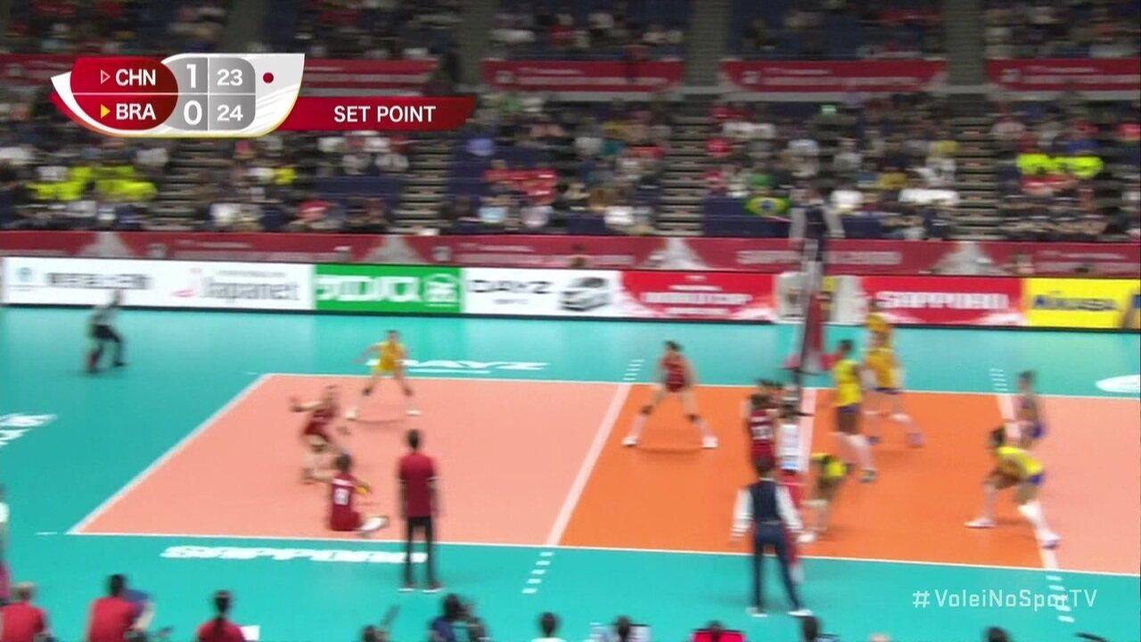 Melhores momentos de China 3 x 2 Brasil na Copa do Mundo de Vôlei Feminino