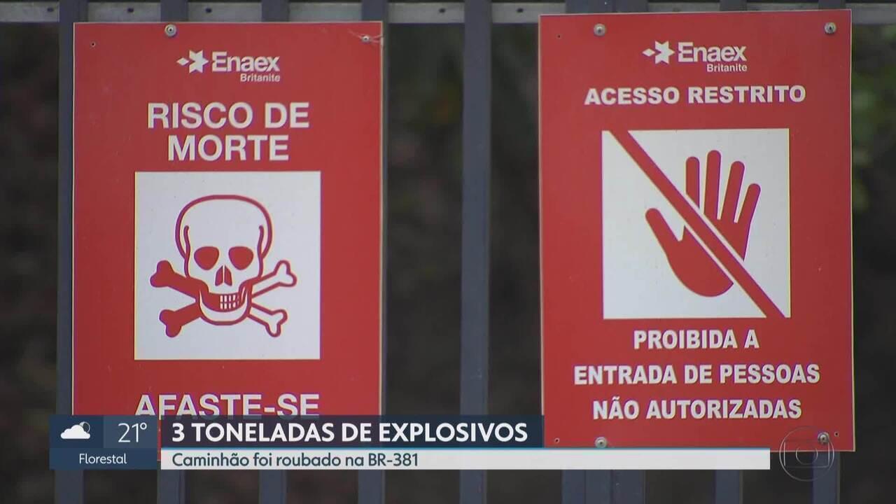 Caminhão com mais de 3 toneladas de explosivos é roubada na Grande BH