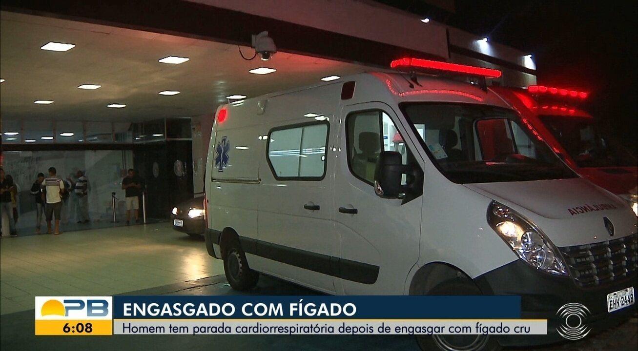 Homem é socorrido para hospital depois de se engasgar com pedaço de fígado cru, em JP