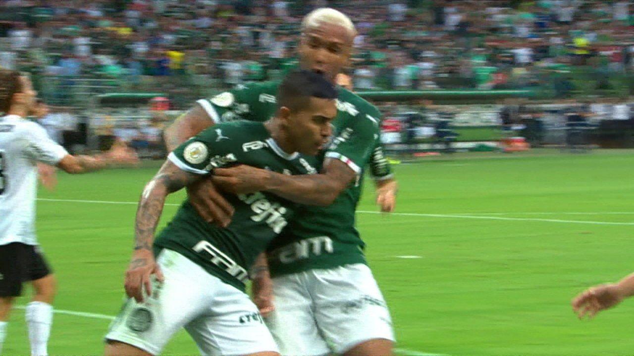 Gol do Palmeiras! Dudu tabela com Scarpa e deixa tudo igual no placar, aos 37 do 2º tempo