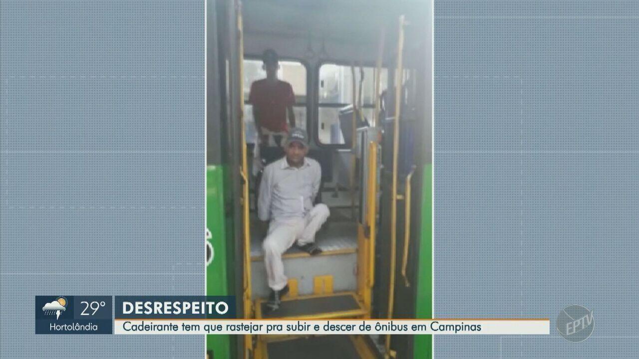 Cadeirante precisa se rastejar para utilizar ônibus com elevador quebrado em Campinas
