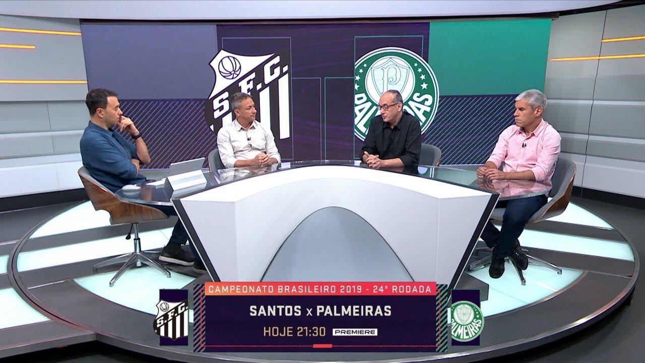 Comentaristas analisam confronto direto entre Santos e Palmeiras na rodada do Brasileiro