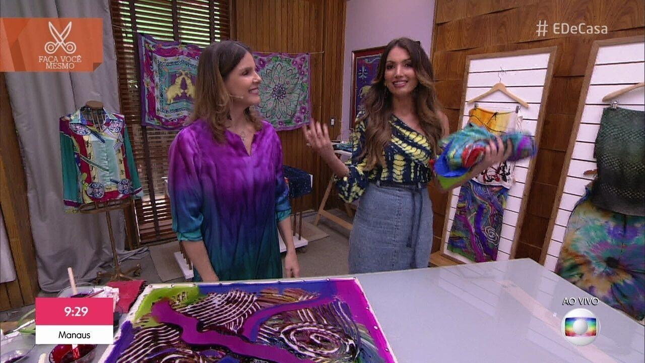 Artista plástica ensina técnica de pintura em tecido