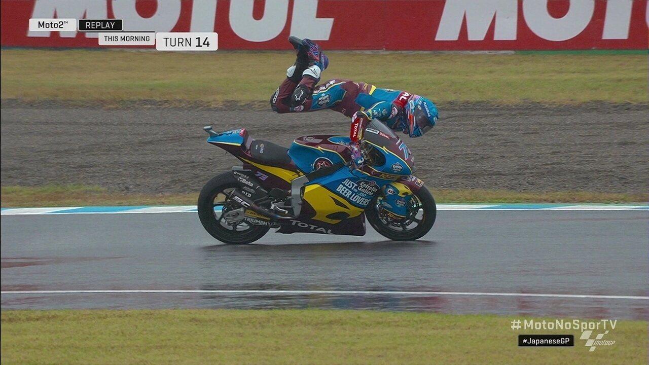 Alex Marquez faz manobra espetacular para se salvar de quase acidente na moto2 GP Japão