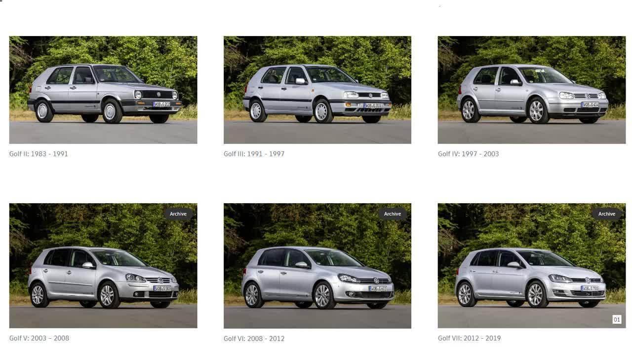Veja a evolução do Volkswagen Golf ao longo dos tempos