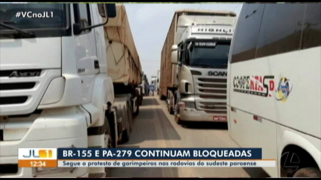 Chega ao terceiro dia o bloqueio da BR-155 e PA-279, sudeste do Pará