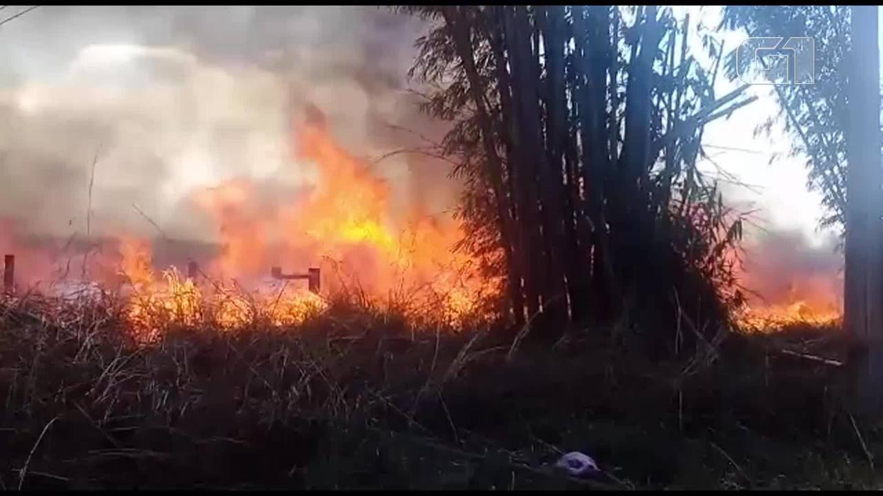 Bombeiros combatem incêndio na Rota do Cavalo em Sobradinho