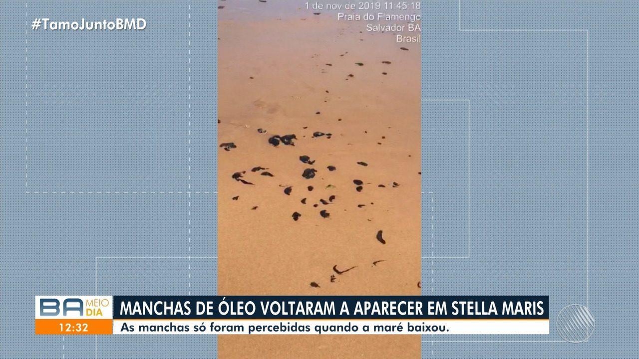 Manchas de óleo retornam à Stella Maris e só foram percebidas quando a maré baixou