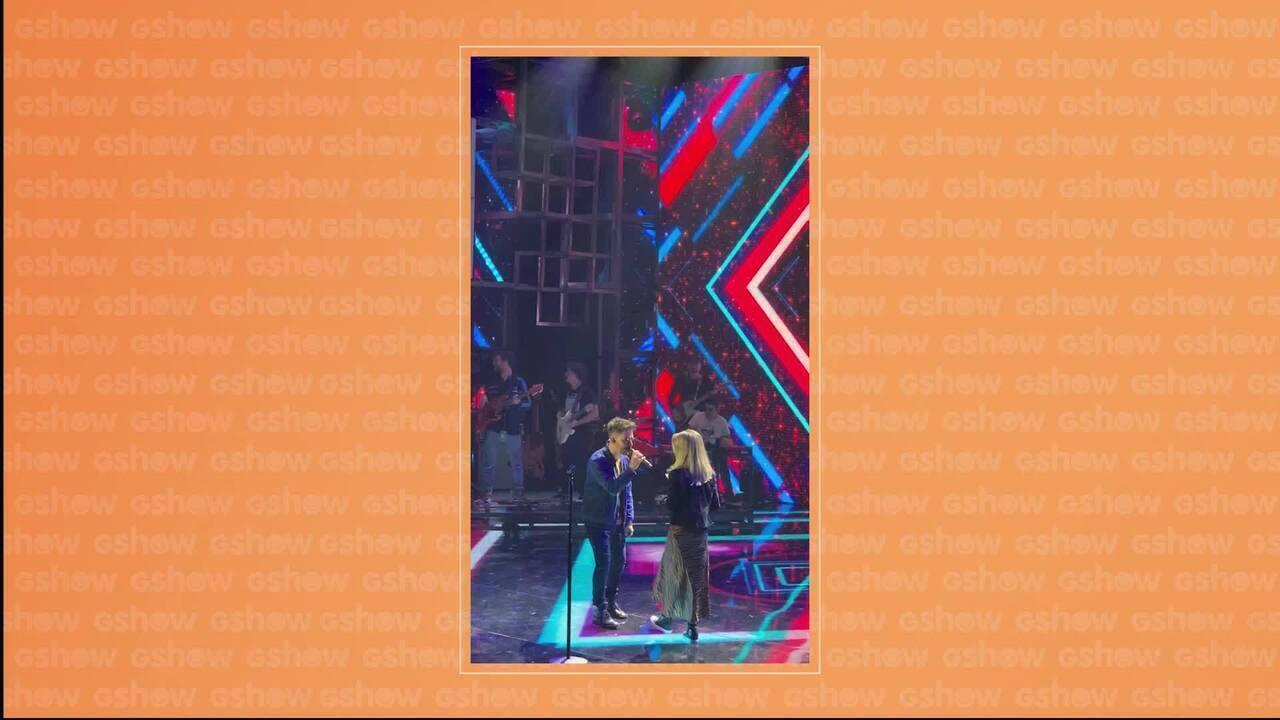 Sandy e Júnior fazem passagem de som no palco do Domingão do Faustão