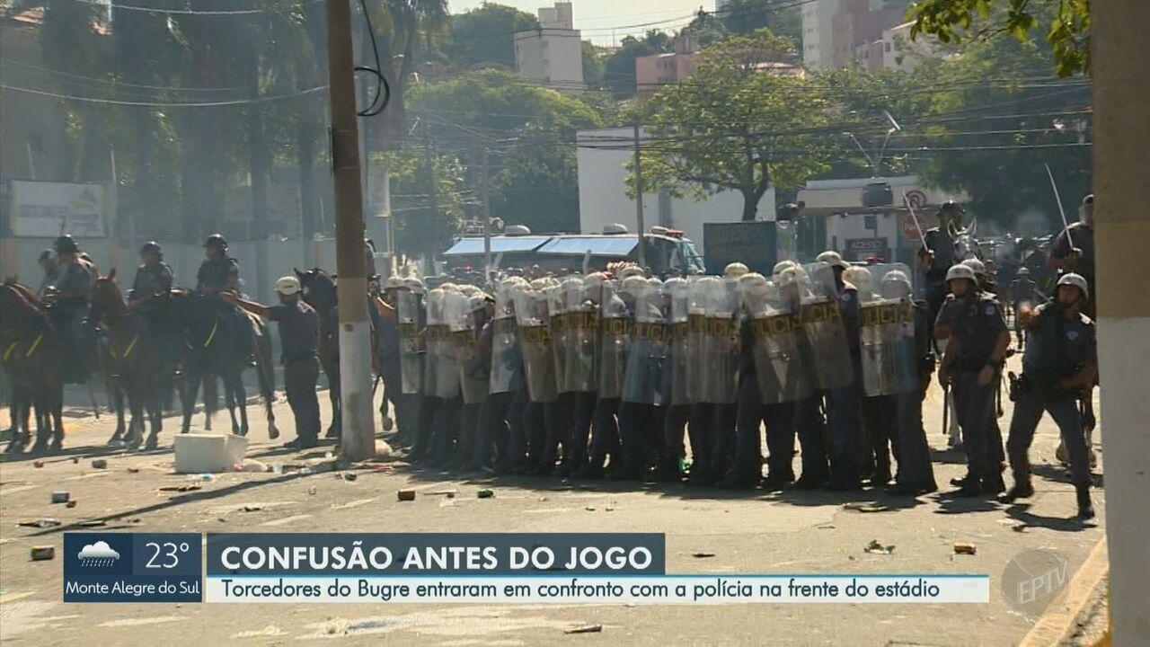 Torcida do Guarani e Polícia Militar entram em confronto antes do dérbi 195