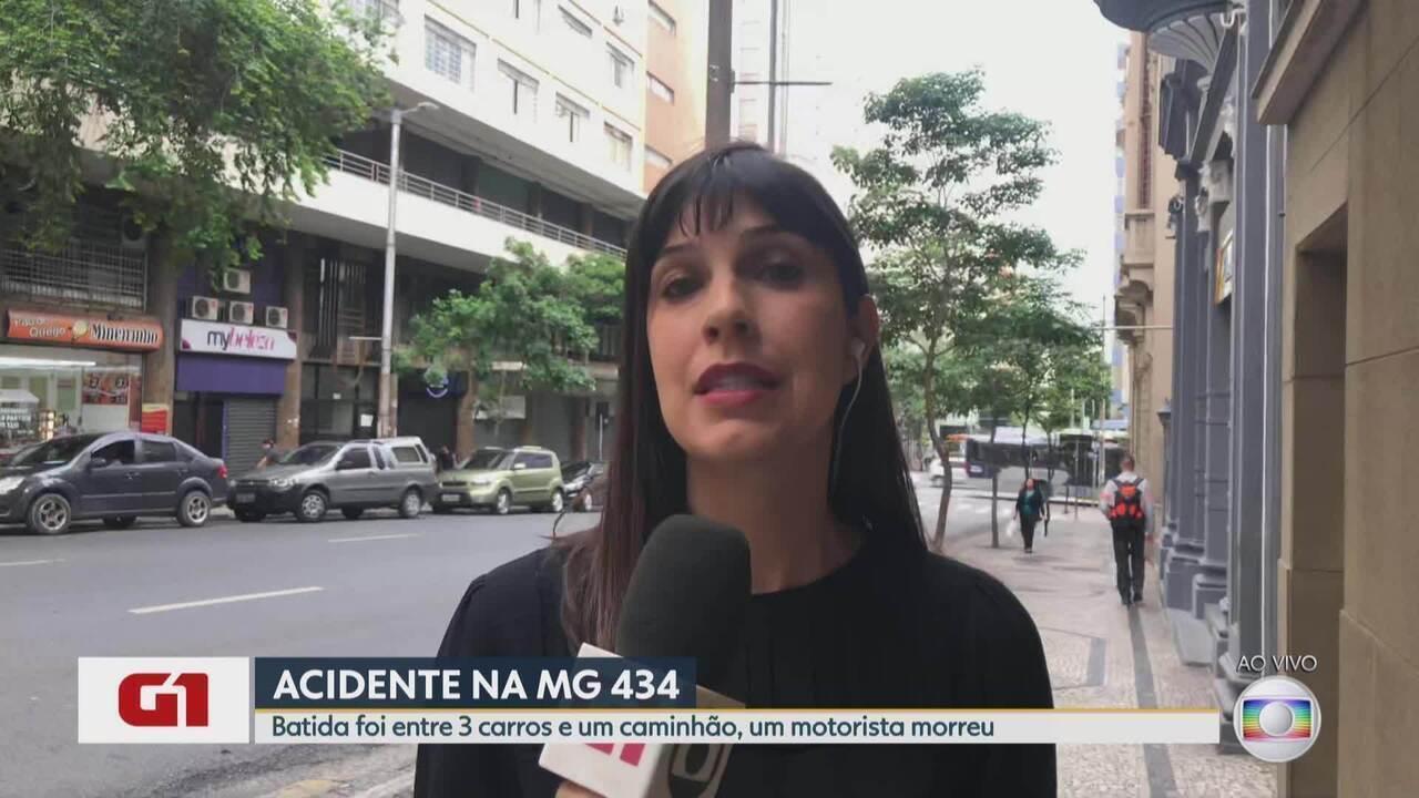 G1 no BDMG: Acidente envolvendo carros e caminhão provoca uma morte em Itabira