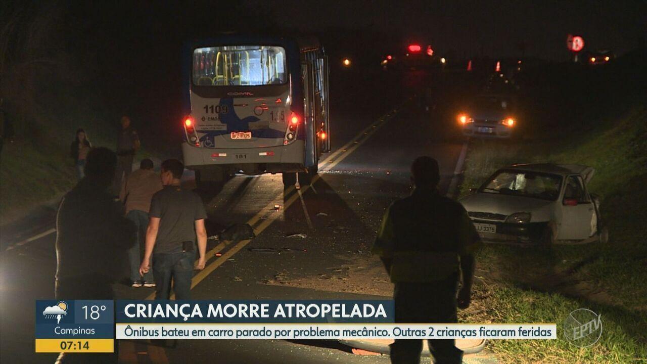 Criança morre em acidente entre carro e ônibus em Campinas