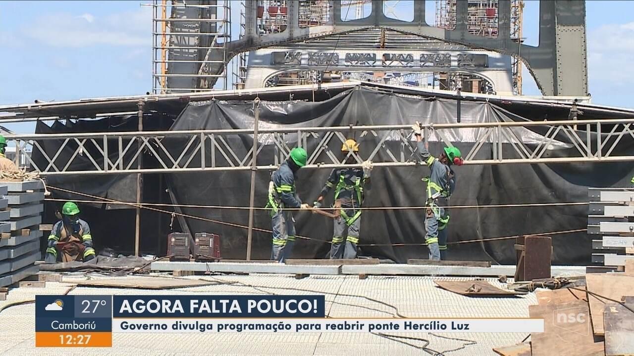 Governo divulga programação de reabertura da Ponte Hercílio Luz em Florianópolis