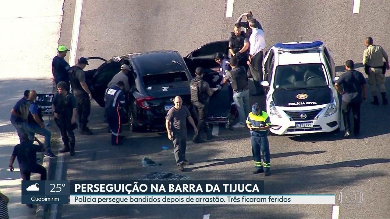 Polícia persegue assaltantes depois de arrastão na Barra da Tijuca