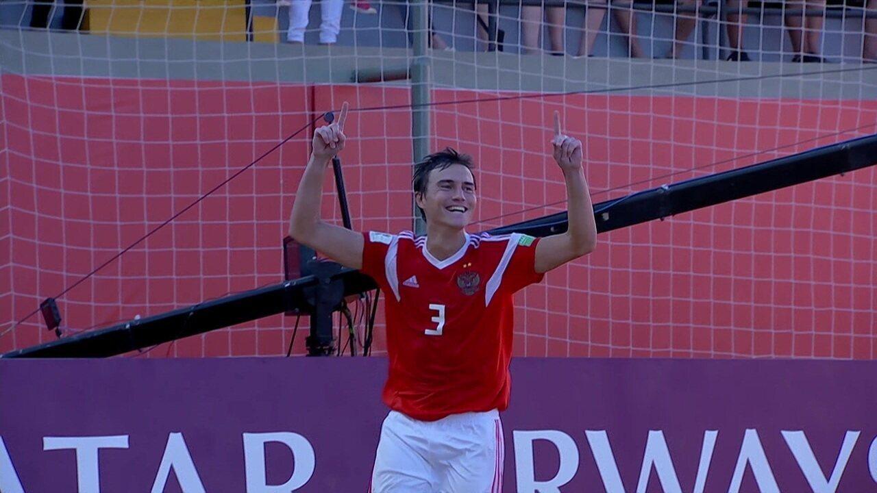 Os gols de Brasil 3 x 4 Rússia pela Copa do Mundo de Futebol de Areia