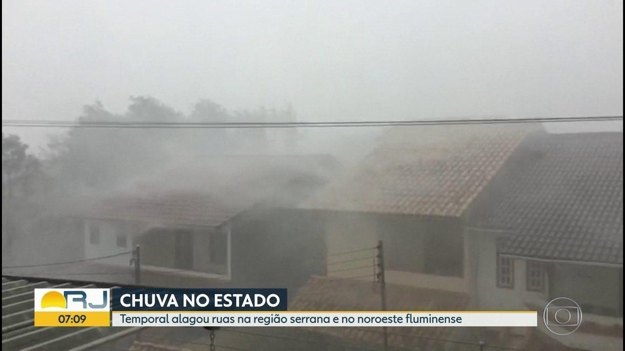 Domingo foi de chuva no interior do Rio
