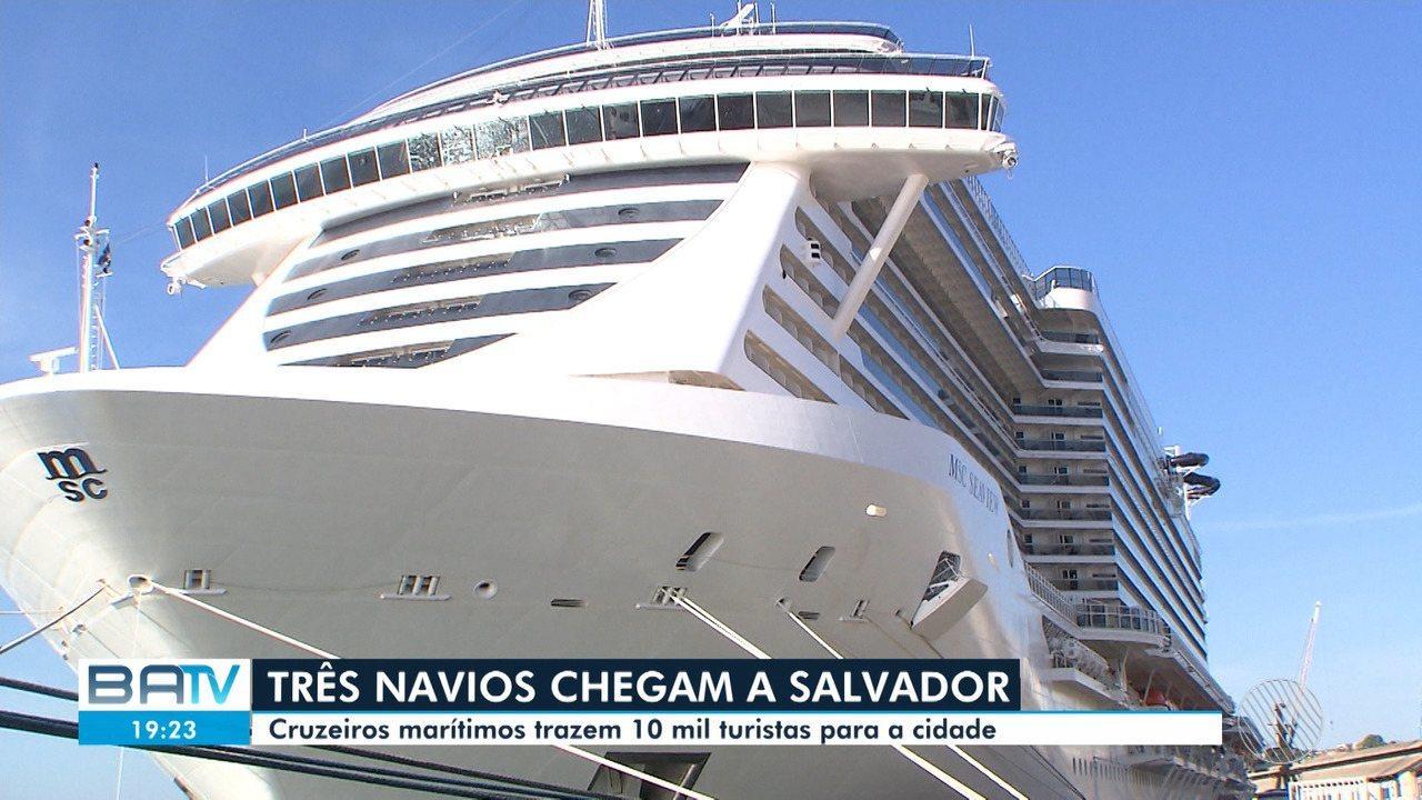 Temporada de cruzeiros começa com o desembarque de dez mil turistas na capital baiana