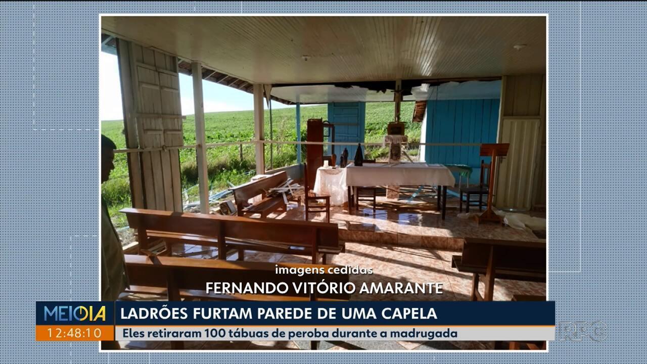 Ladrões levam parede de capela de Uraí, na região Norte do Paraná