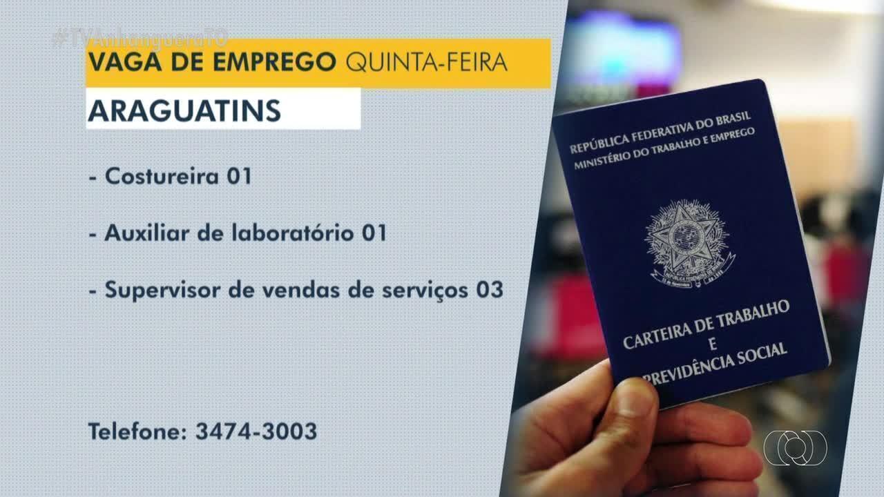 Confira as vagas de emprego disponíveis em Dianópolis, Guaraí e Araguatins