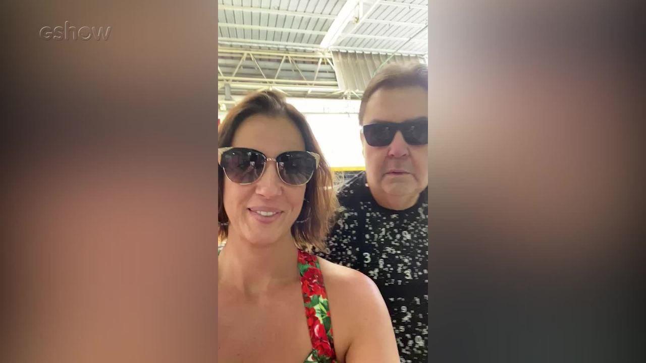 Luciana Cardoso e Faustão chegam aos Estúdios Globo