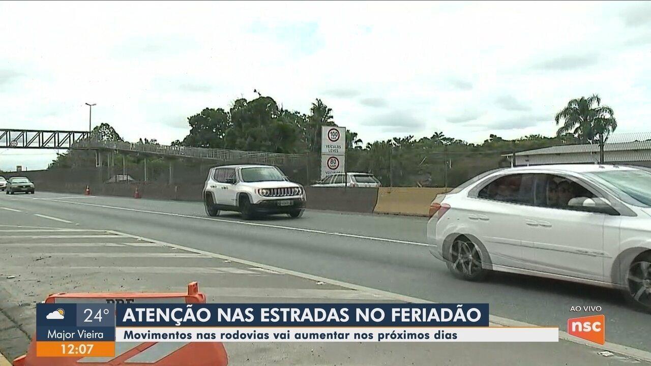Movimentos em rodovias catarinenses deve aumentar nos próximos dias