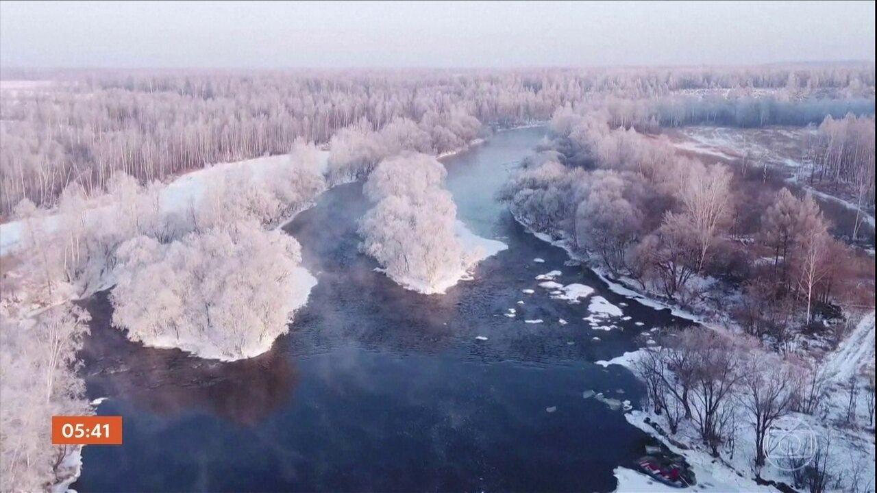 Neve muda paisagem na China