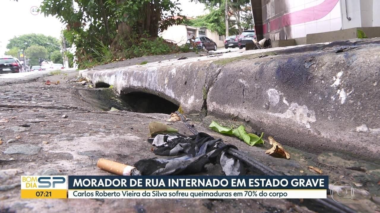 Morador de rua sofre queimaduras enquanto dormia na Mooca