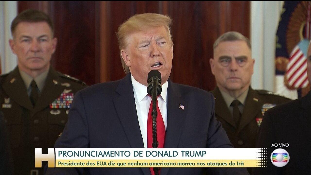 Donald Trump fala sobre os ataques iranianos que atingiram bases militares no Iraque
