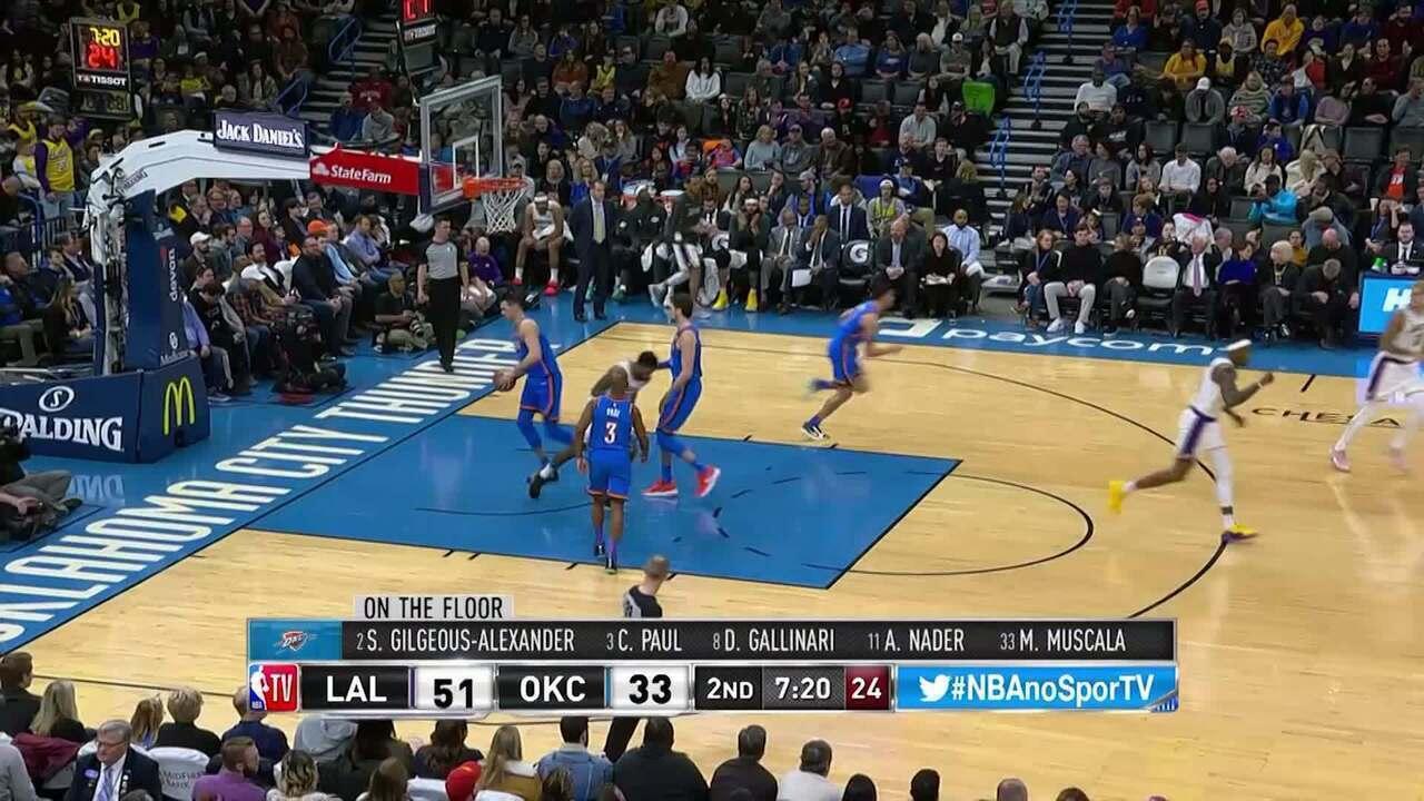 Melhores momentos de Oklahoma City Thunder 110 x 125 Los Angeles Lakers pela NBA