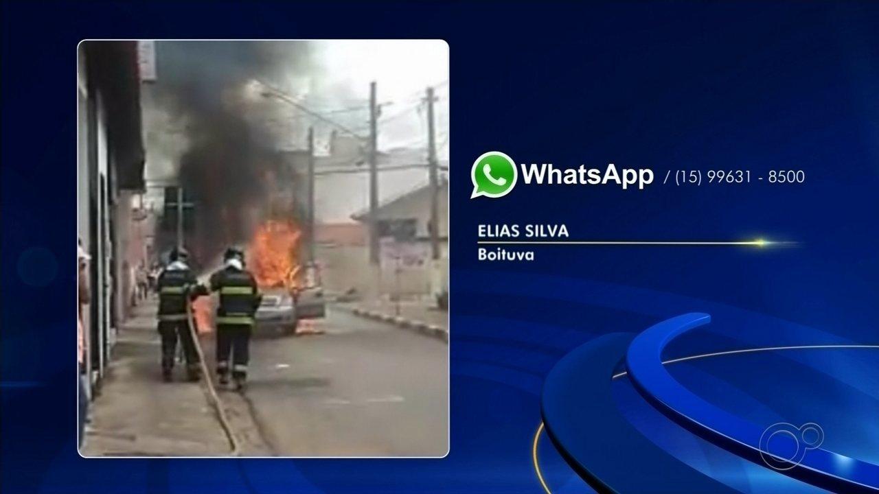 Carro pega fogo e mobiliza bombeiros no Centro de Boituva