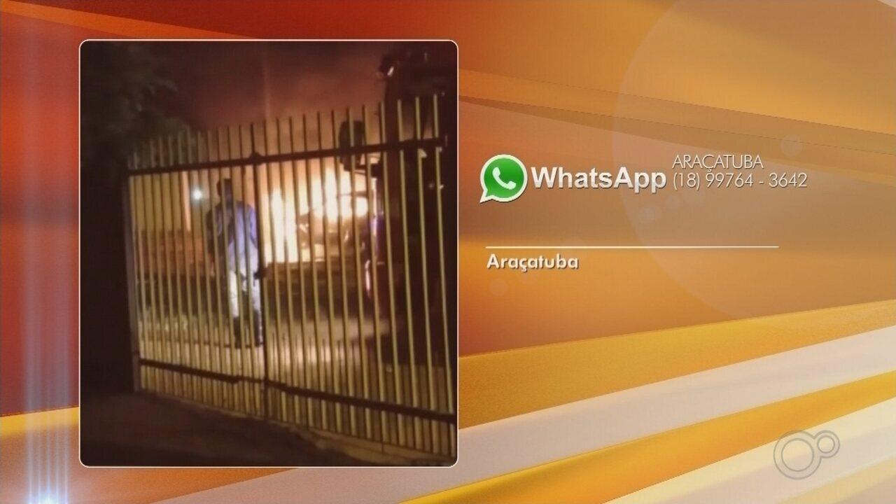 Carro pega fogo em bairro de Araçatuba