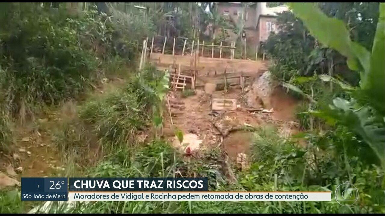 Moradores do Vidigal e da Rocinha reclamam de obras de contenção paradas
