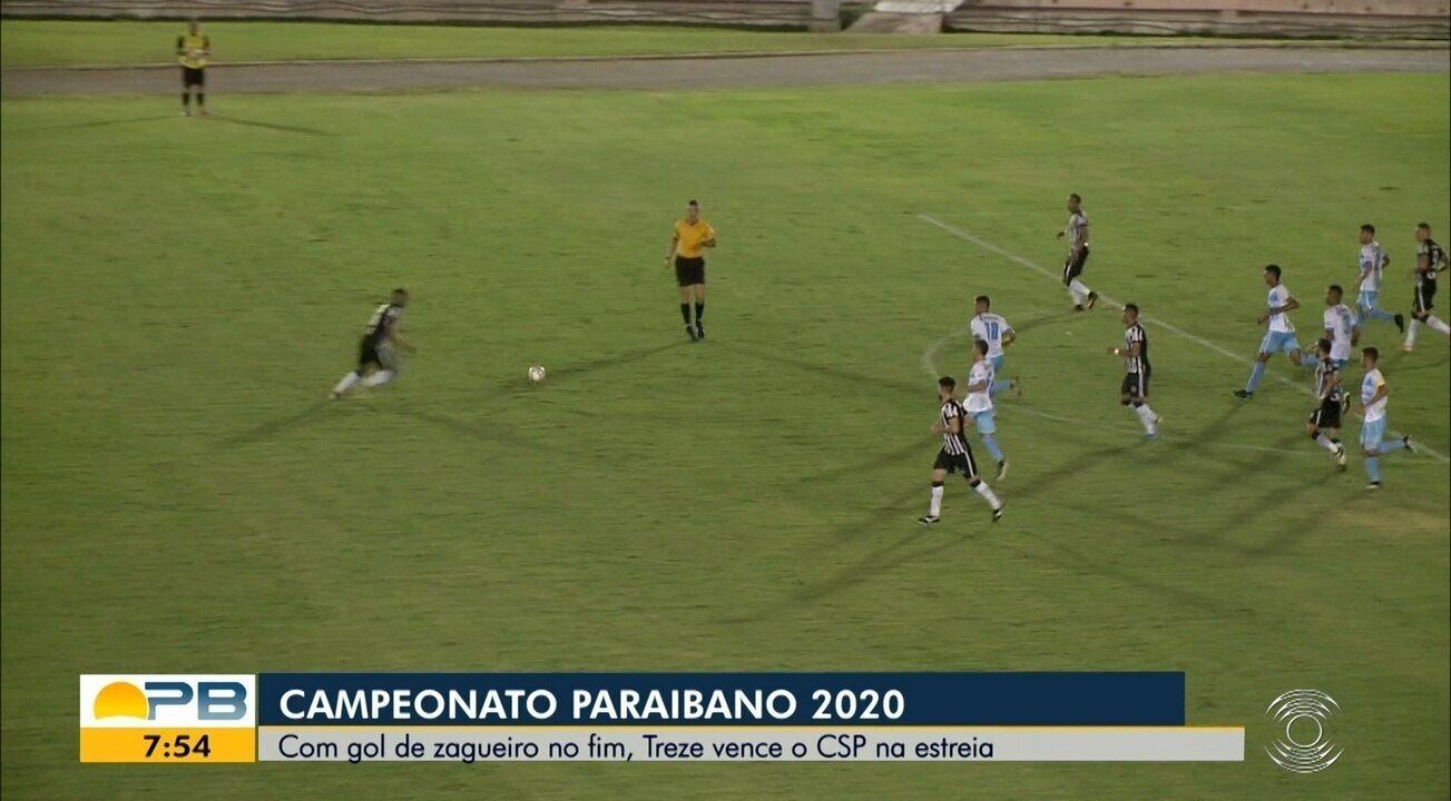 Assista aos gols da vitória do Treze sobre CSP, pela primeira rodada do Paraibano