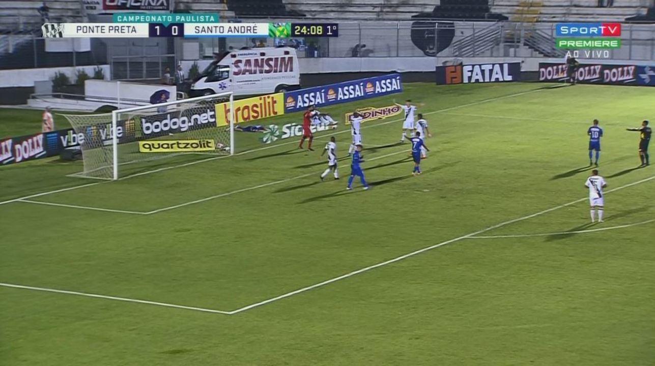Pênalti para o Santo André. Dudu Vieira é derrubado por Cléber aos 24 minutos do 1º tempo