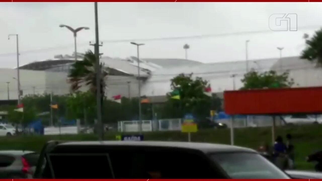 Ventos fortes arrancam parte do teto do aeroporto de Fortaleza