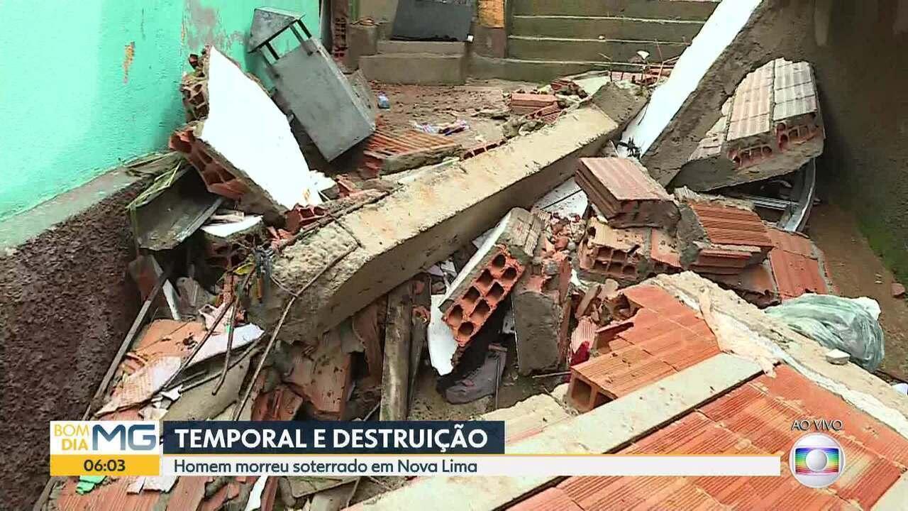 Homem morre em desabamento durante chuva em Nova Lima, na Grande BH