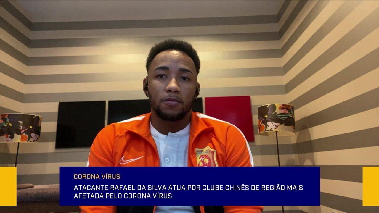 Atacante Rafael Silva participa do Redação SporTV para falar sobre corona vírus na China
