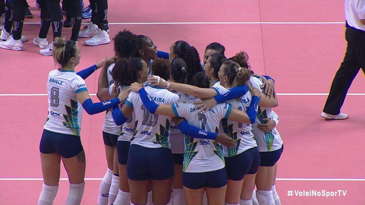 Pontos finais de SESC-RJ 3 x 1 Praia Clube pela final da Copa Brasil de Vôlei Feminino