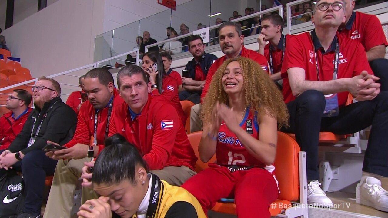 Jogadora de Porto Rico fica emocionada na arquibancada com a classificação para Tóquio