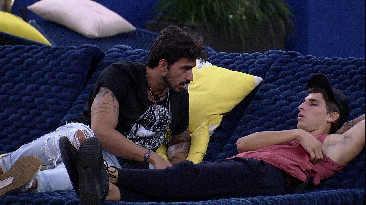 Guilherme para Felipe: 'se ganho o Líder, o último que coloco no VIP é o Daniel'