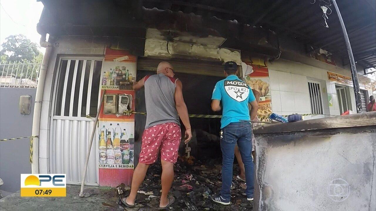 Incêndio em mercadinho deixa feridos no Recife