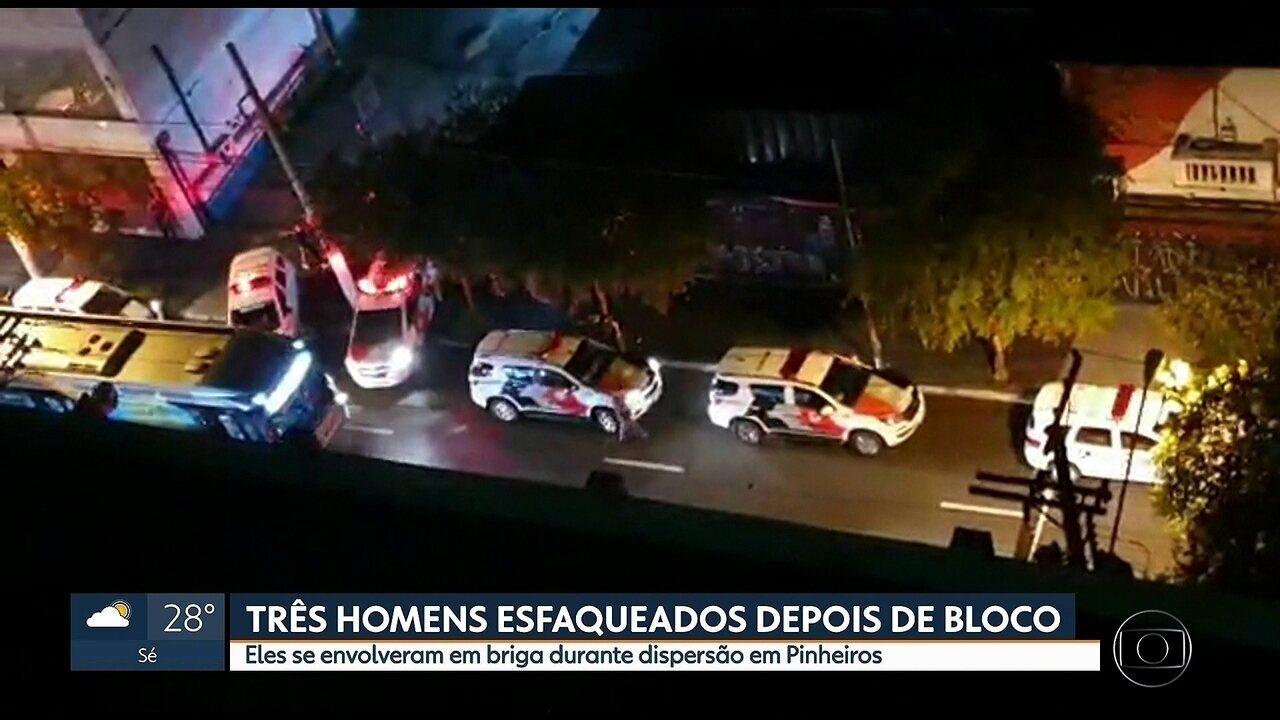 Três homens são esfaqueados depois de bloco de carnaval em Pinheiros