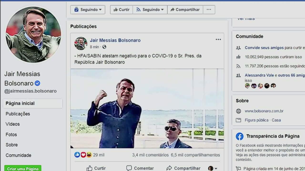 Presidente Jair Bolsonaro não está com novo coronavírus