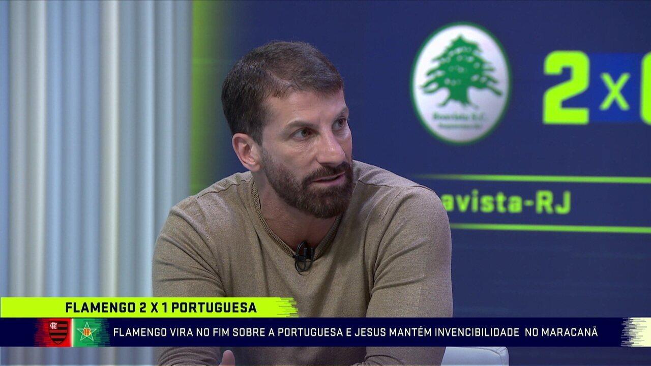 """Pedrinho ressalta dificuldades encontradas pelo Flamengo contra a Portuguesa: """"Foi o jogo mais diferente que a gente tem visto"""""""