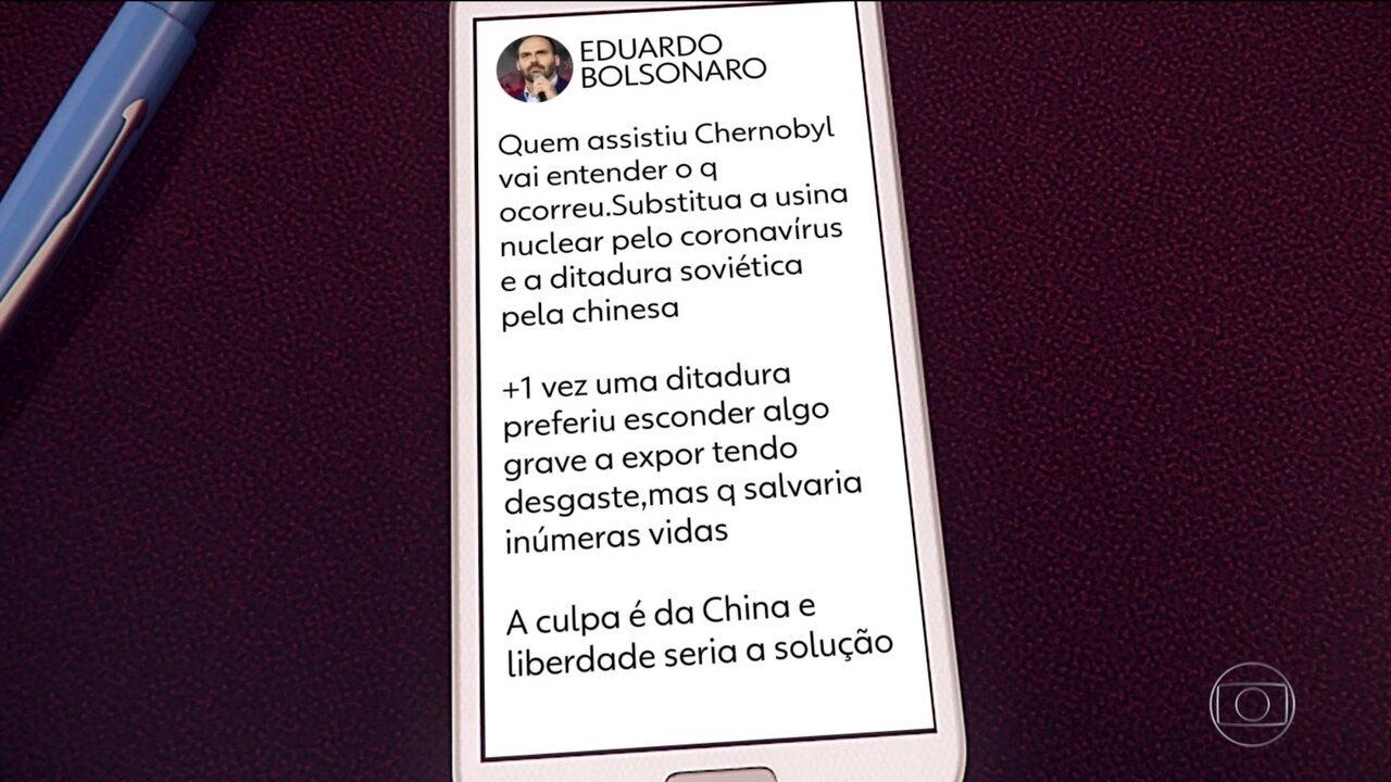 Eduardo Bolsonaro culpa a China por coronavírus e gera crise diplomática