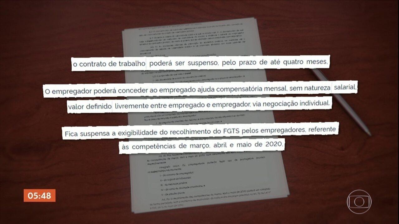 Bolsonaro publica MP que autoriza suspensão de contrato de trabalho por até 4 meses