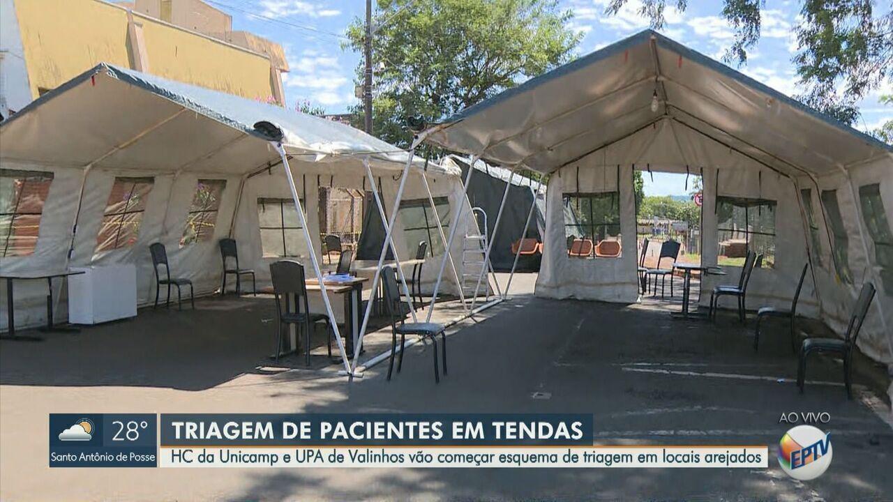 Unicamp e UPA de Valinhos montam tendas para atender pacientes com suspeita de coronavírus