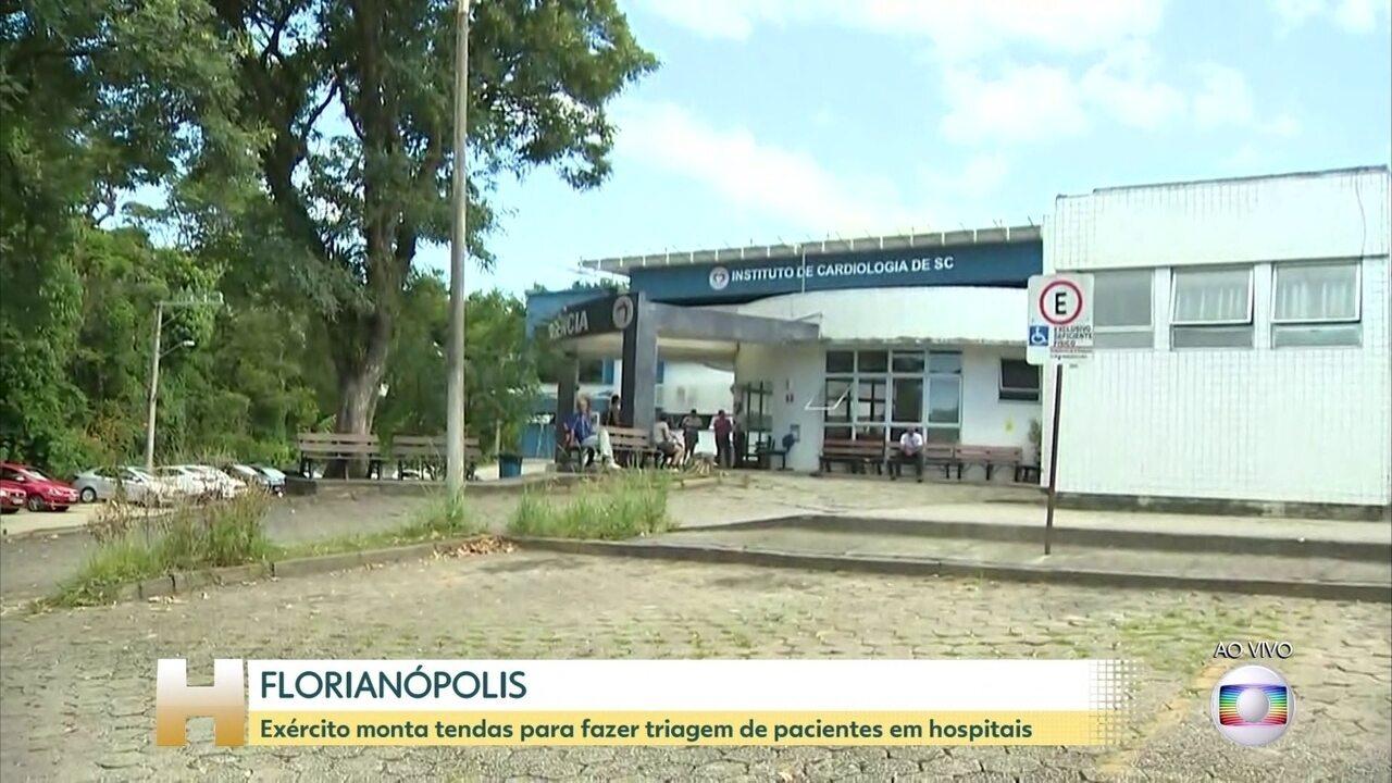 Exército monta tendas para fazer triagem de pacientes em hospitais em Florianópolis
